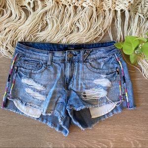 Harper Denim Shorts with Embroidered Stripes